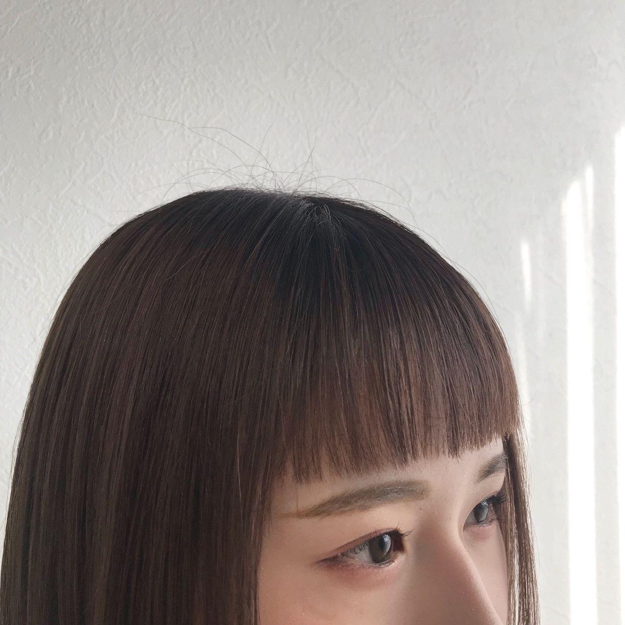 ナチュラル ミディアム オン眉 前髪パッツン Beige Plus Kurihara Ayaka 421781 Hair ヘアスタイリング 前髪 前髪ぱっつん ボブ