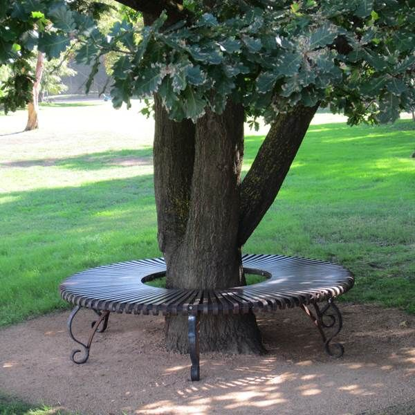 Traditional Circle Tree Bench Under An Old Oak