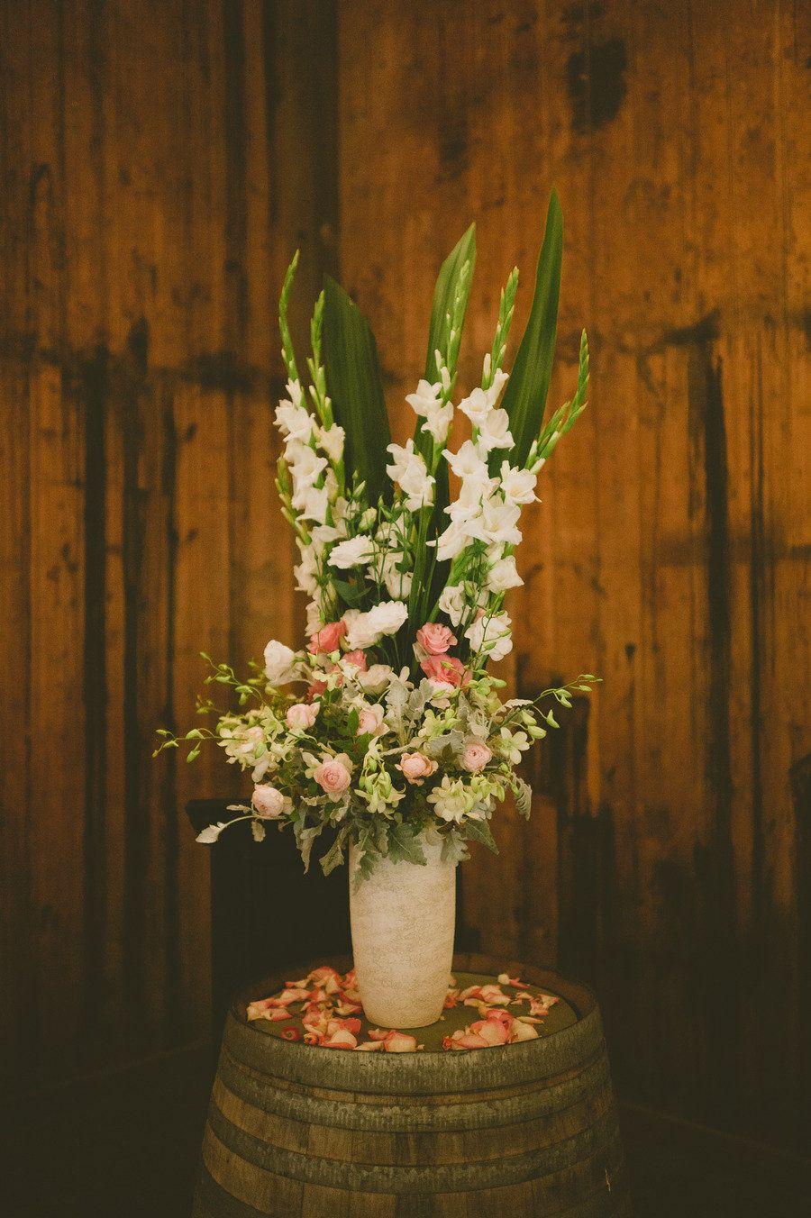 Romantic rustic and pink wedding decor.