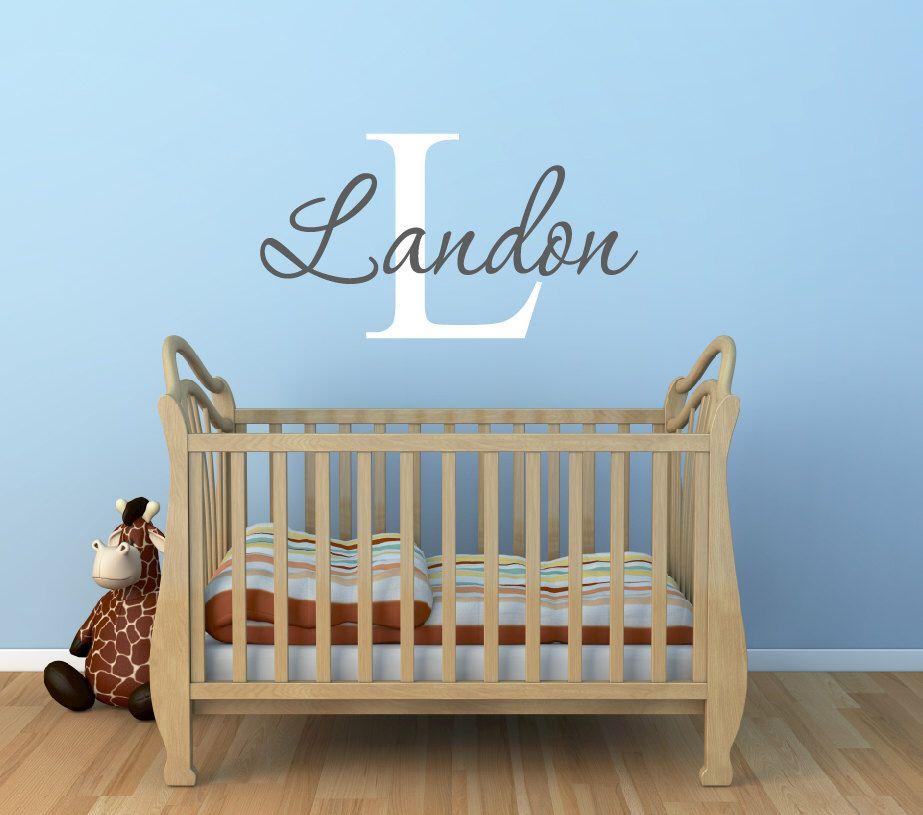 Baby Boy Nursery Name Wall Decals Nursery Wall Decal Baby - Monogram wall decal for nursery