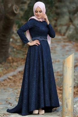Esra Sua Lacivert Jakarli Klos Tesettur Abiye Elbise Muslimah Fashion Fashion Dresses