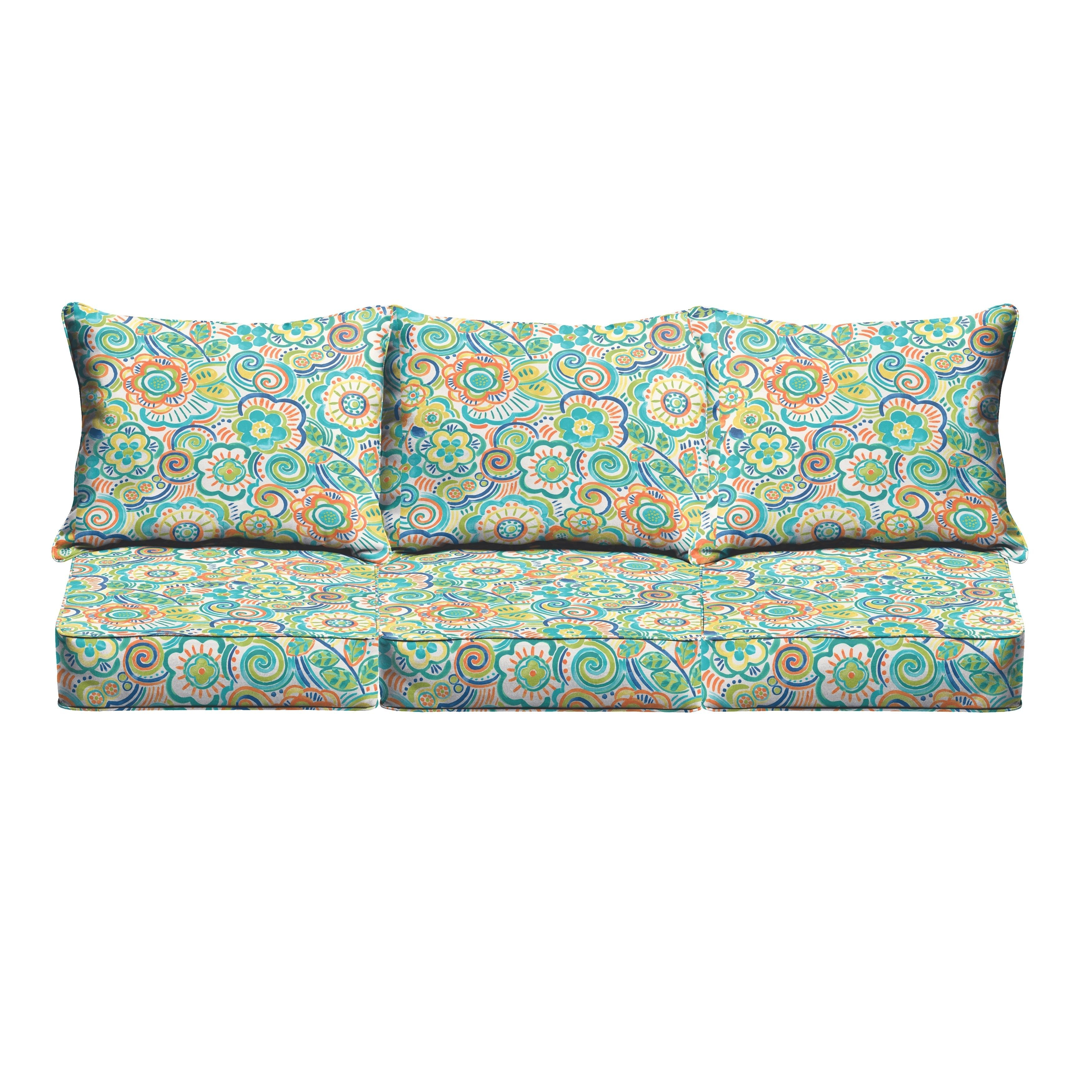 Blue rio floral indoor outdoor corded sofa cushion set ospcset