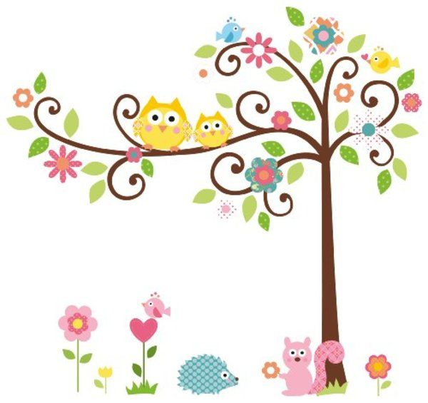 Roommates Repositionable Childrens Wall Stickers, Scroll Tree Idea