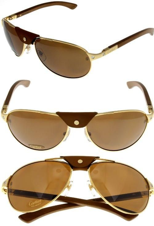 8f48e622ebeee Cartier Sunglasses Polarized Santos-Dumont Aviator Wood Unisex T8200862