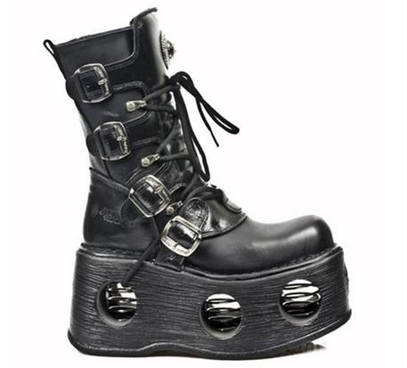 new rock shoes Metallic Black Boots