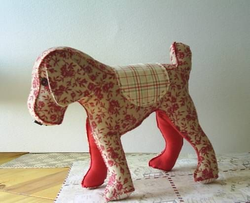 Free standing red fabric dog pincushionsewing aidBertie by fraline, €14.79