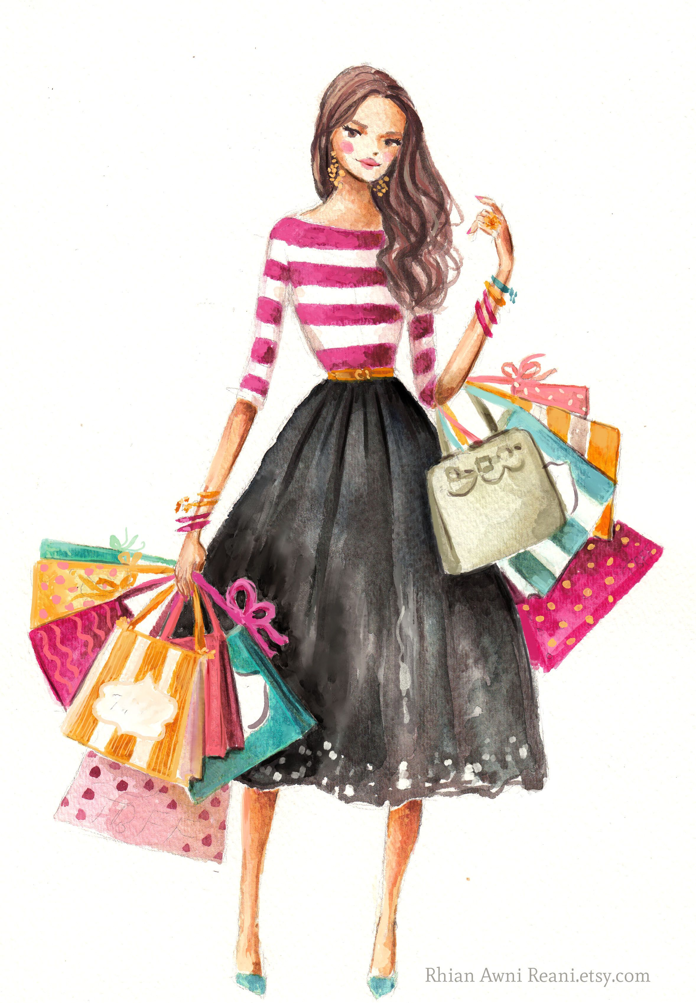 fashion illustration girl shopping by rhian awni on etsy