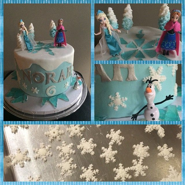 Frozen Cake with fondant snowflakes, sugar glass snowflake embedded in fondant with Anna and Elsa #frozen #cakeidea