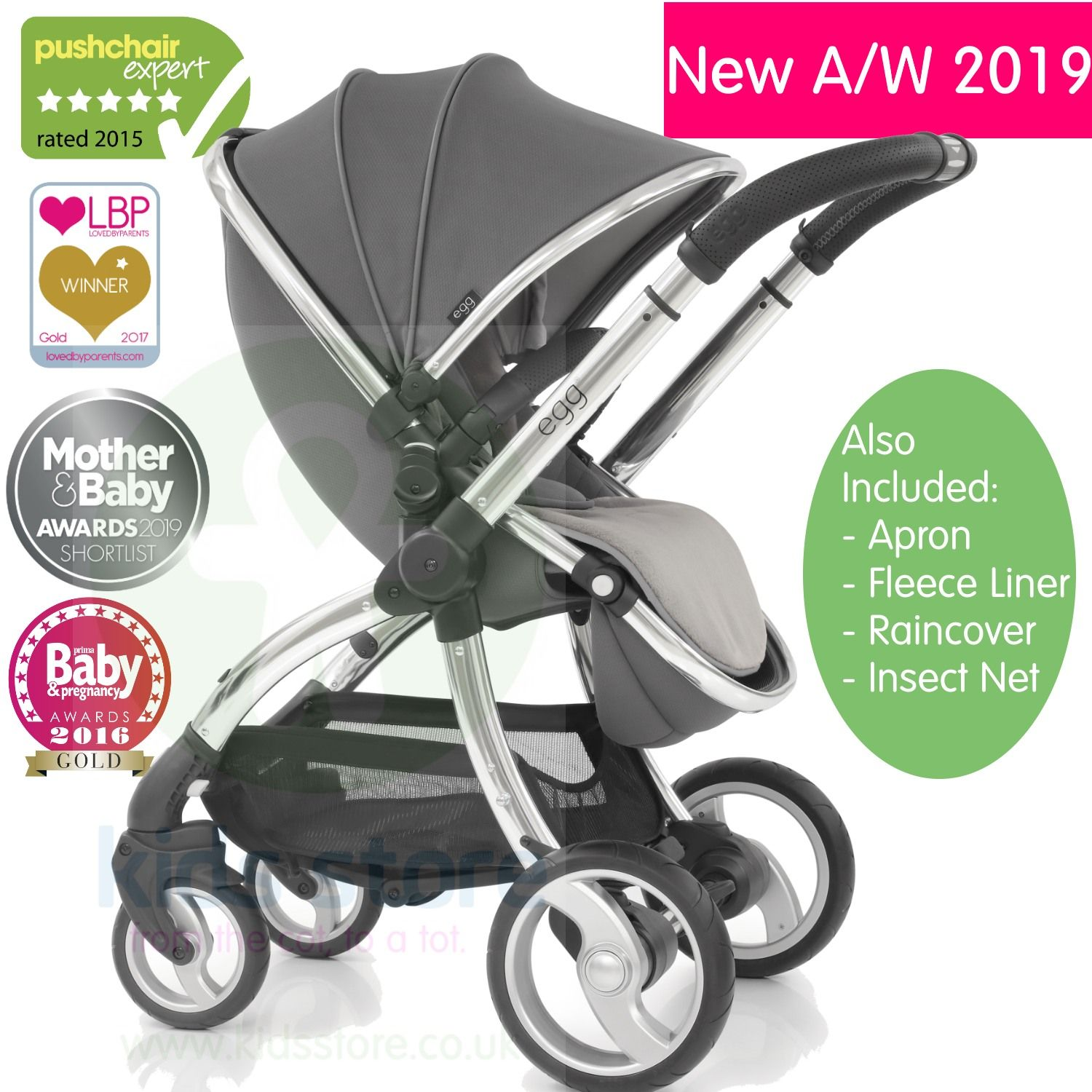 Egg Pram Gunmetal Egg Anthracite Stroller With Matching Changing Bag New