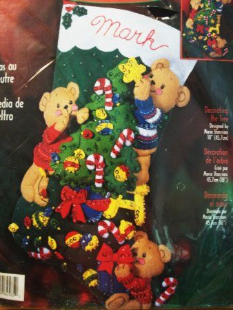 Bucilla Felt Christmas Stocking Kit - Decorating The Tree Design - 18""
