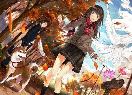 An Autumn Walk With My Dog Desktop Nexus Wallpapers Anime Wallpaper Anime Anime Guys Shirtless