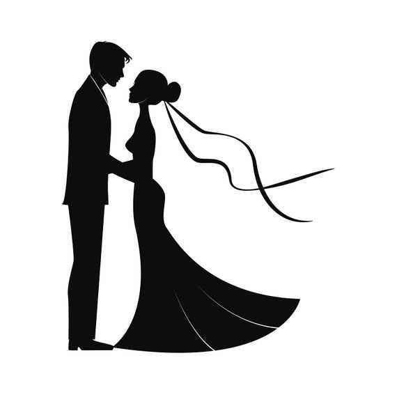Wedding Couples In Silhouette Svg Marriage Bride And Groom Etsy Bride And Groom Silhouette Wedding Drawing Wedding Couples