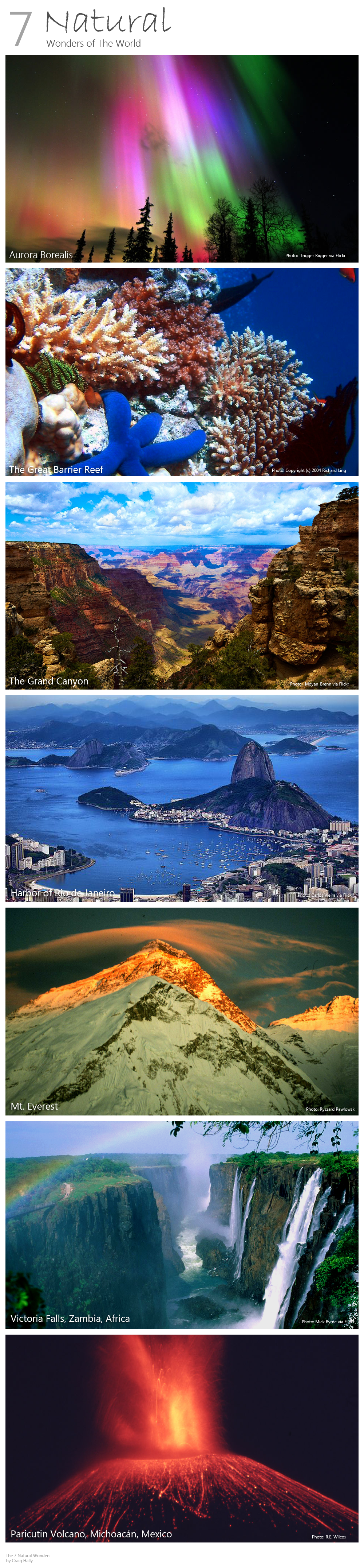 The 7 Natural Wonders of the World. I've only seen the ...