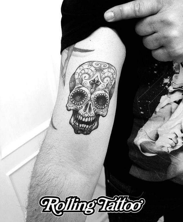 Calavera Mexicana Tattoo Estilo Rolling Tattoo Disenado Y