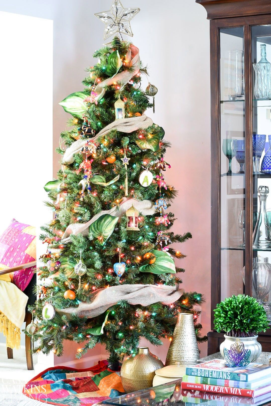 colorful global boho christmas tree casa watkins living