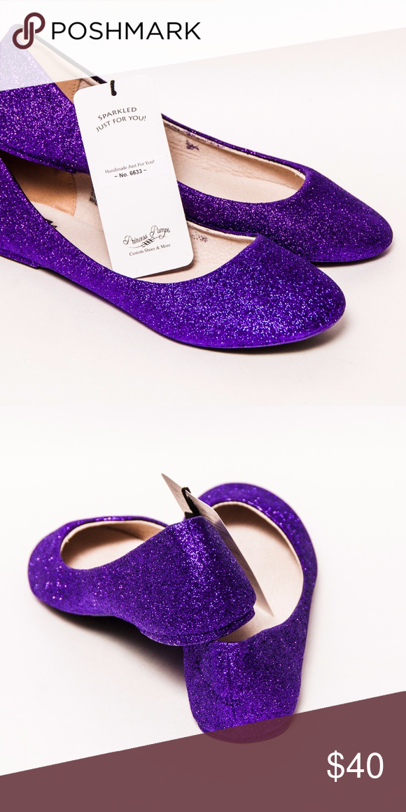 d3e90044500f Passion Purple Glitter Ballet Flats Slippers Shoes Never been worn! True to  size. Hand sequined by Princess Pumps. Princess Pumps Shoes Flats   Loafers