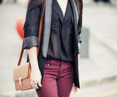 Black see-through blouse, burgundy/purple pants, black blazer *tan messenger bag