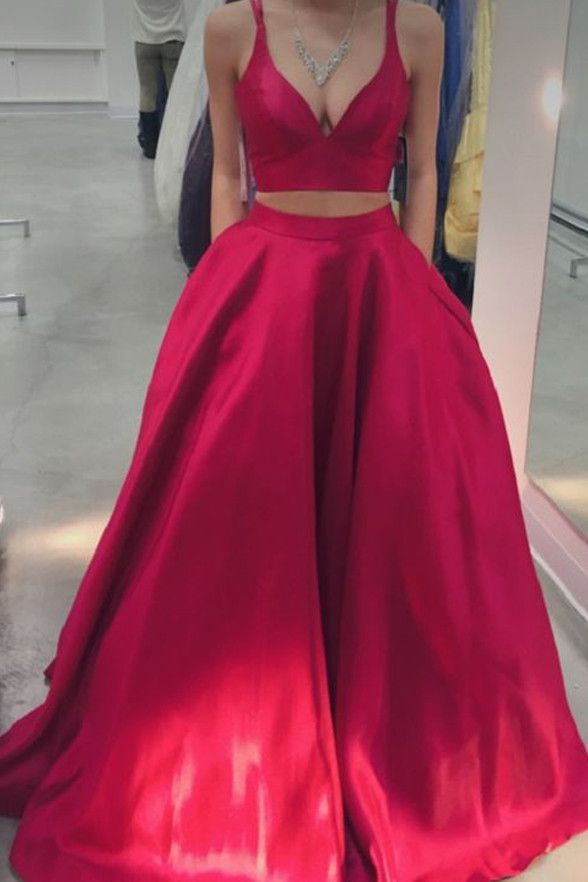 831f34aad1434 V Neck Off Shoulder Red 2 Piece Evening Prom Dresses Ball Gown With Pocket  LD206