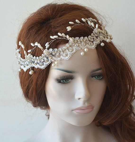 Ivory Lace And Pearl Headpiece Wedding