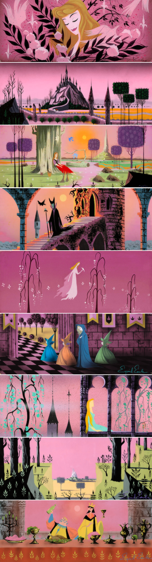 Concept art by Eyvind Earle for Disney's Sleeping Beauty (1959)