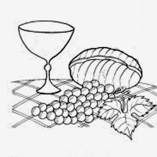 desenho de calice com uvas e pão simbolos religiosos para pintar
