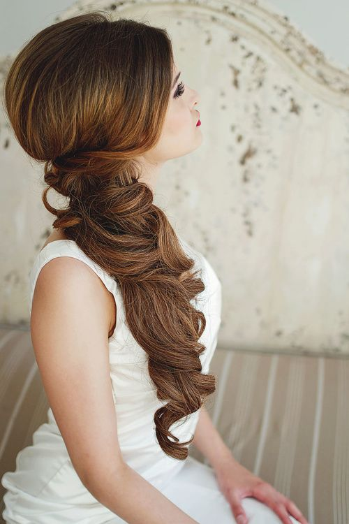 side ponytail for wedding long hair