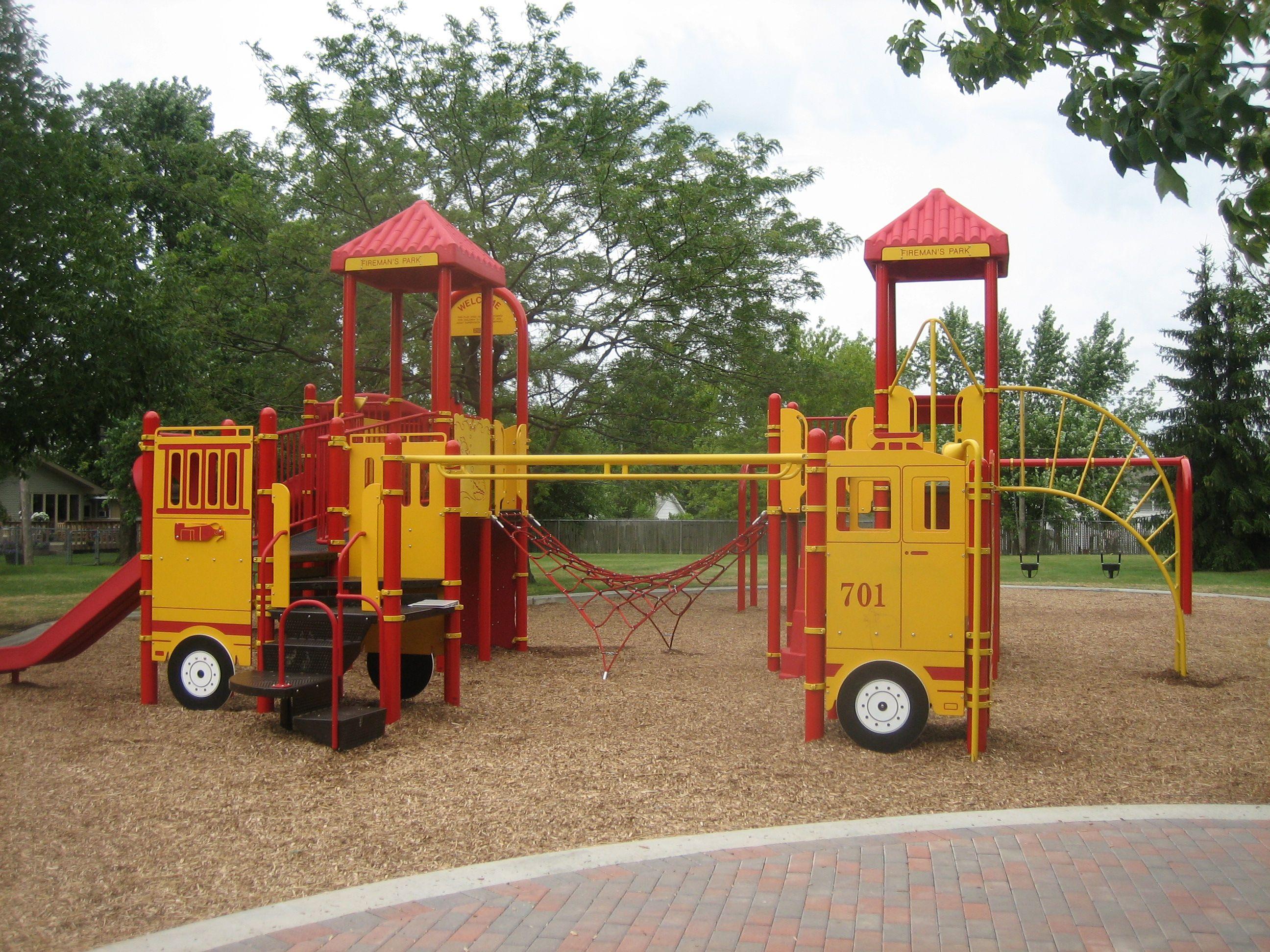 Firetruck Theme Playground at Fireman s Park Waukegan IL