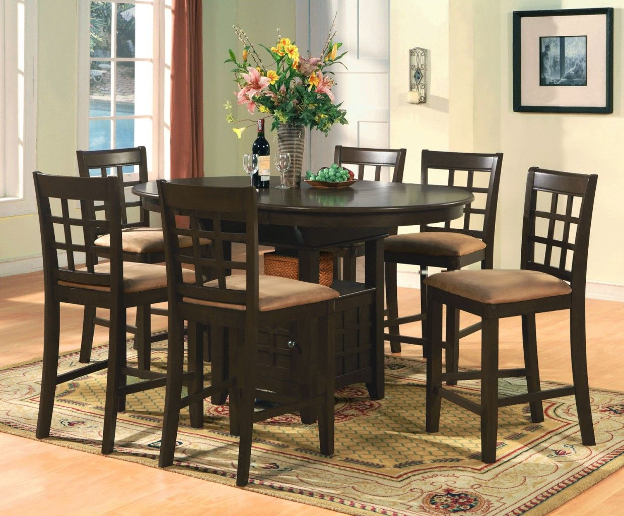 Oval counter height dining set 7pc table 6 bar stools for Counter height dining set
