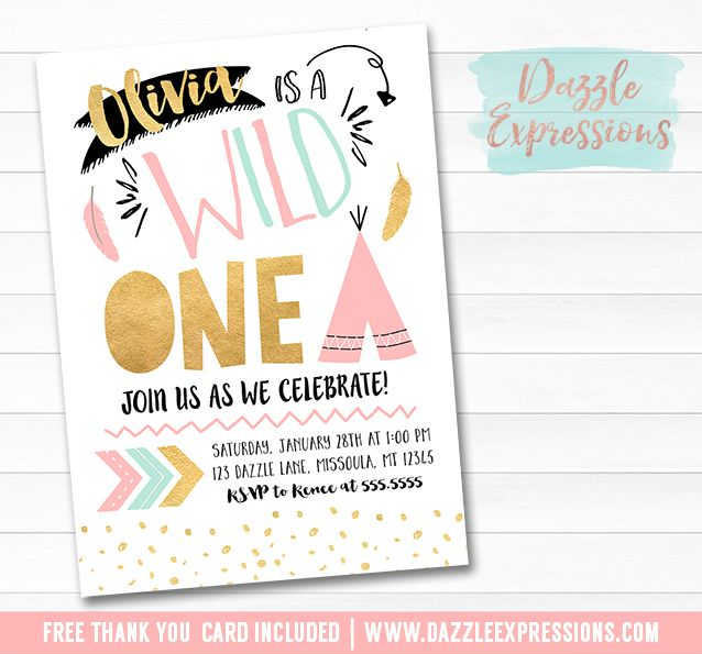 printable wild one birthday invitation pink gold and mint girls