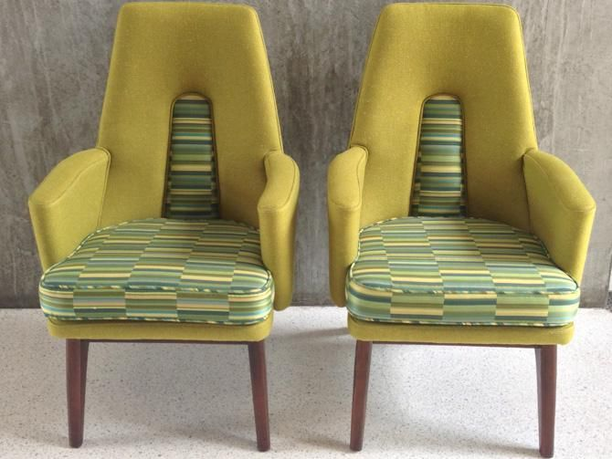Vintage Danish Modern Chairs expertly upholstered in Maraham fabric and chartreuse boucle.