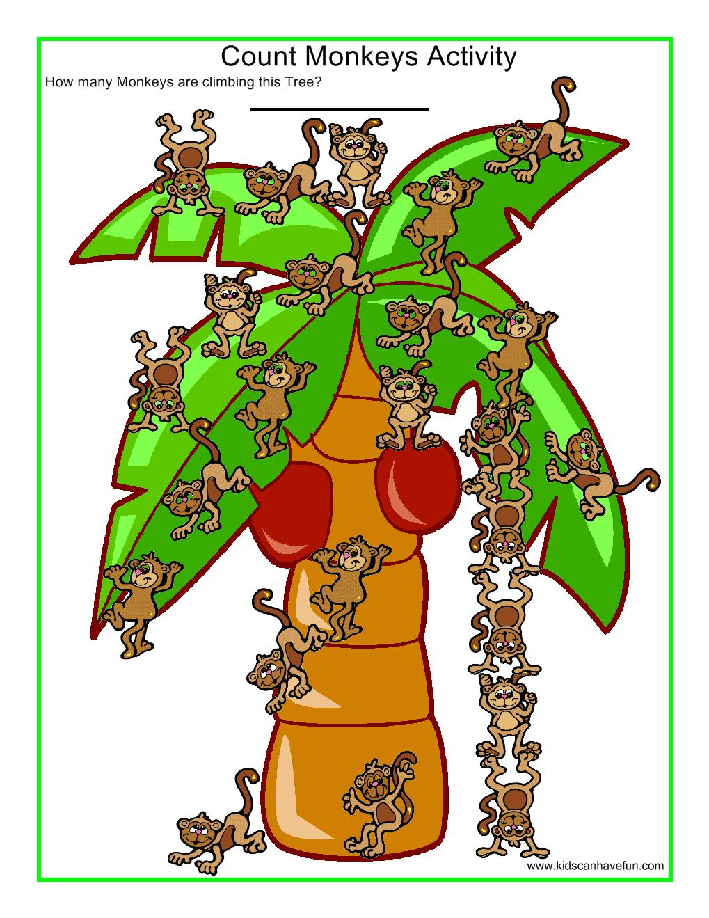 Count Monkeys Worksheet   Alphabet Letters M-N-O-P   Pinterest ...