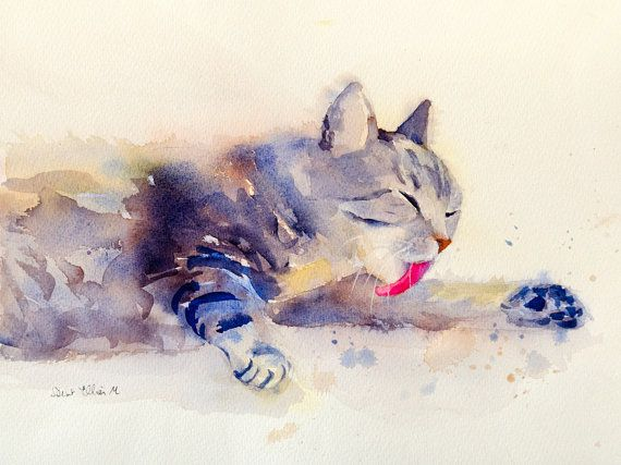 original watercolor of a grooming cat original painting. Black Bedroom Furniture Sets. Home Design Ideas
