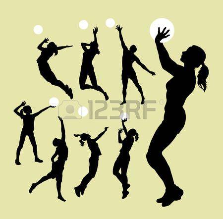 volleyball girl: Siluetas del deporte de Voleibol Vectores