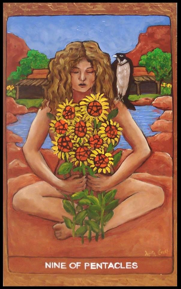 Image result for 9 of pentacles tarot st croix
