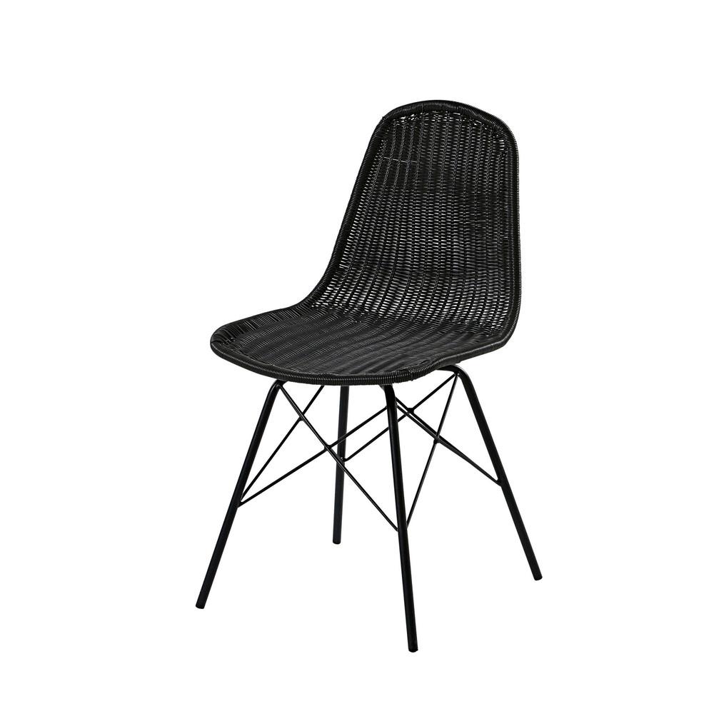 Chaise de jardin en acier et résine tressée noire | Projet ...