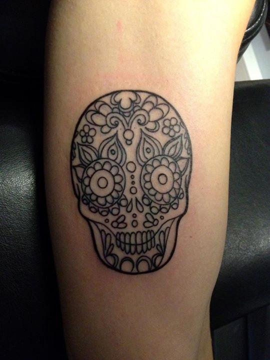Tattoo Tatouage Noir Et Blanc Crane Mexicain Tatouages Tristan