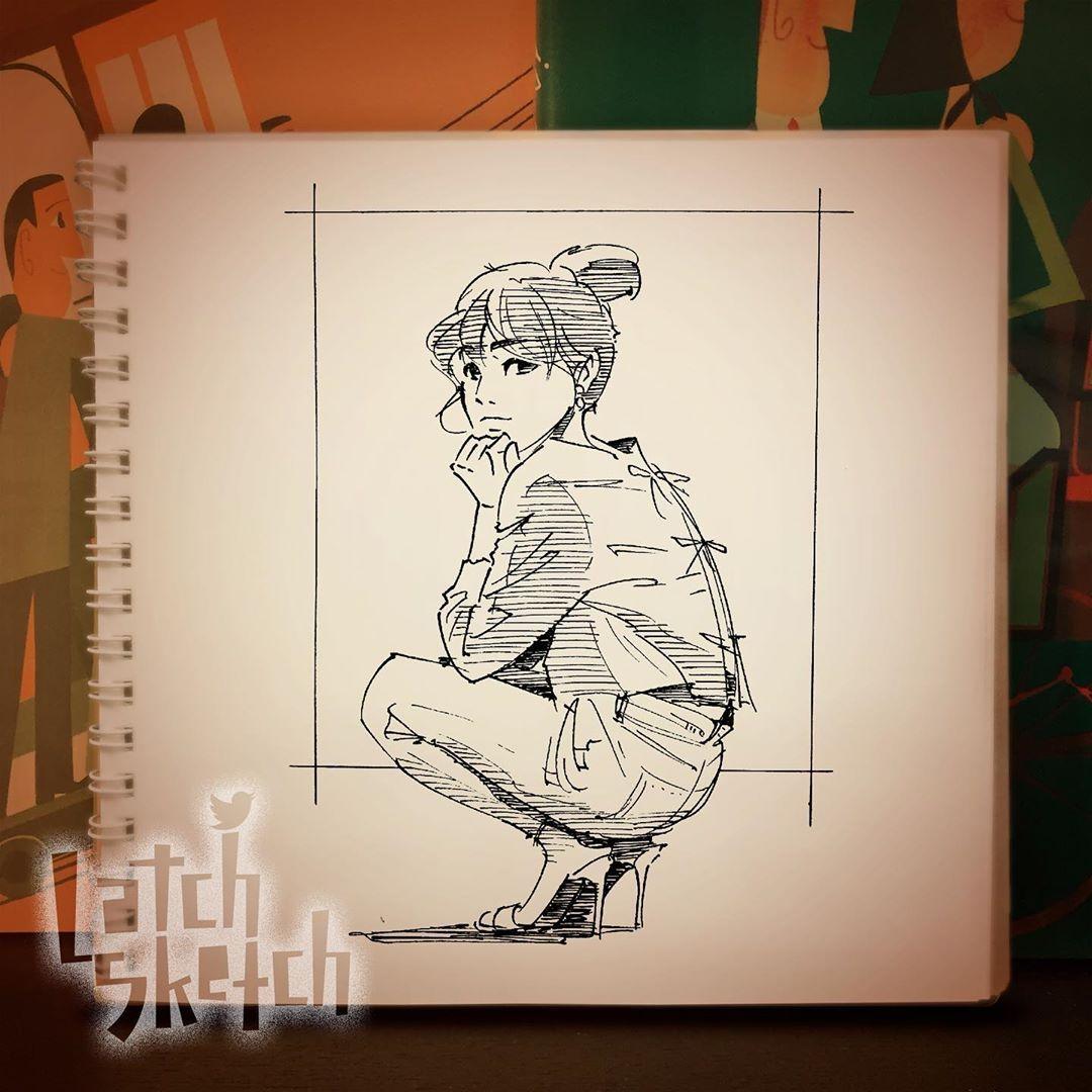 Latch On Instagram しゃがんでる女性スケッチ Illustration Illust Drawing Sketch Sketchbook Pen Art Graffiti Scribble Scrawl Land スケッチ クロッキー ペインティング