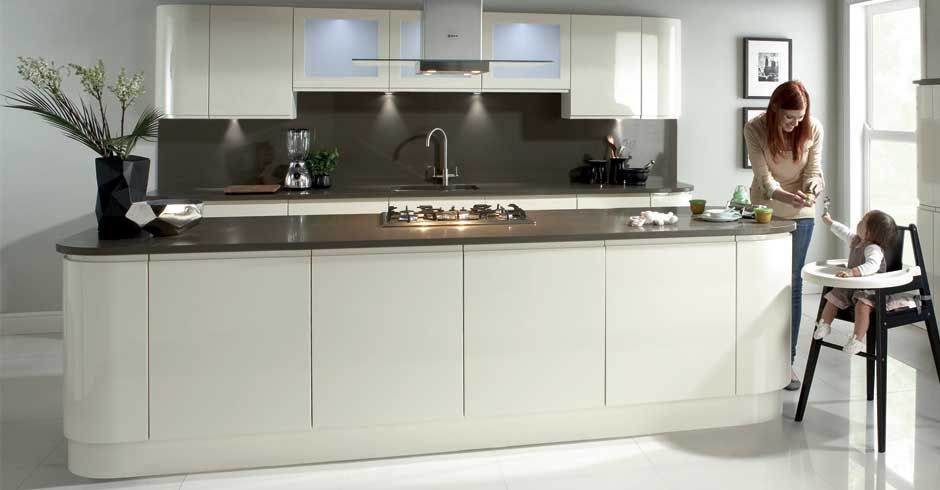 White Kitchen Units With Grey Worktop creme gloss cabinets and one tone dark grey worktops. handleless