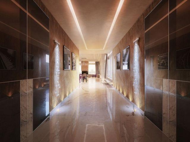 Lichteffekte Wohnung-Penthouse Flur Gestaltung Marmor Boden - gestaltungsmoglichkeiten einraumwohnung
