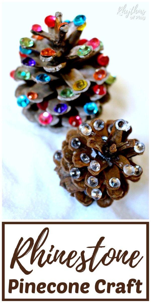 Rustic Rhinestone Pinecone Crafts Christmas Pine Cone