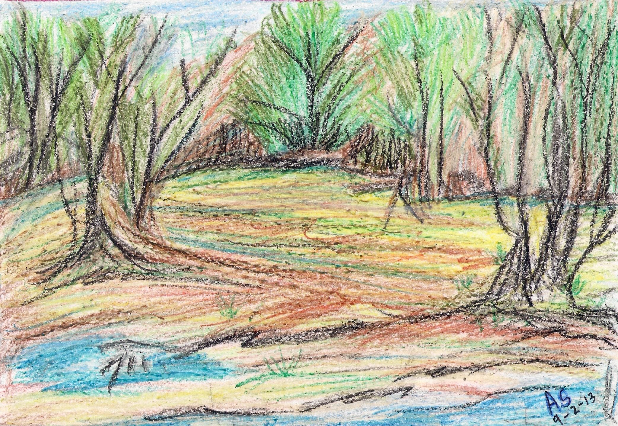A scenery in wax crayons drawing painting crayons for Wax landscape