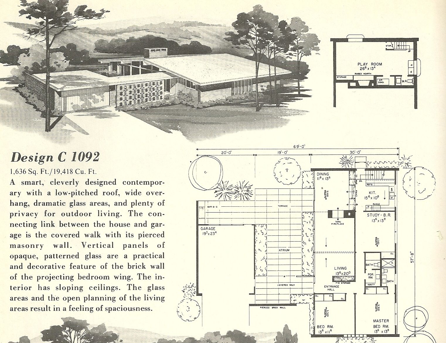 Mid Century Modern House Plans | Vintage House Plans 1960s: Spanish Style  And Mid Century
