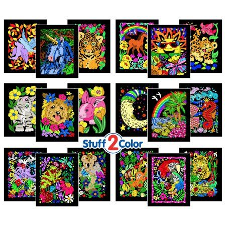 Super Pack of 18 Fuzzy Velvet Coloring Posters (Artistic ...