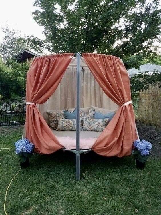 Trampoline Backyard Oasis Idea In 2020 Trampoline Tent Backyard Trampoline Trampoline Bed