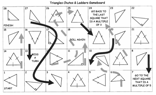 Triangles Chutes And Ladders Game Free Game Board Die And
