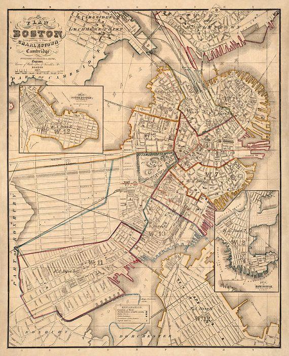 Old Map Of Boston Large Vintage Map Boston Map Restored Etsy In 2020 Boston Map Old Map Vintage Maps