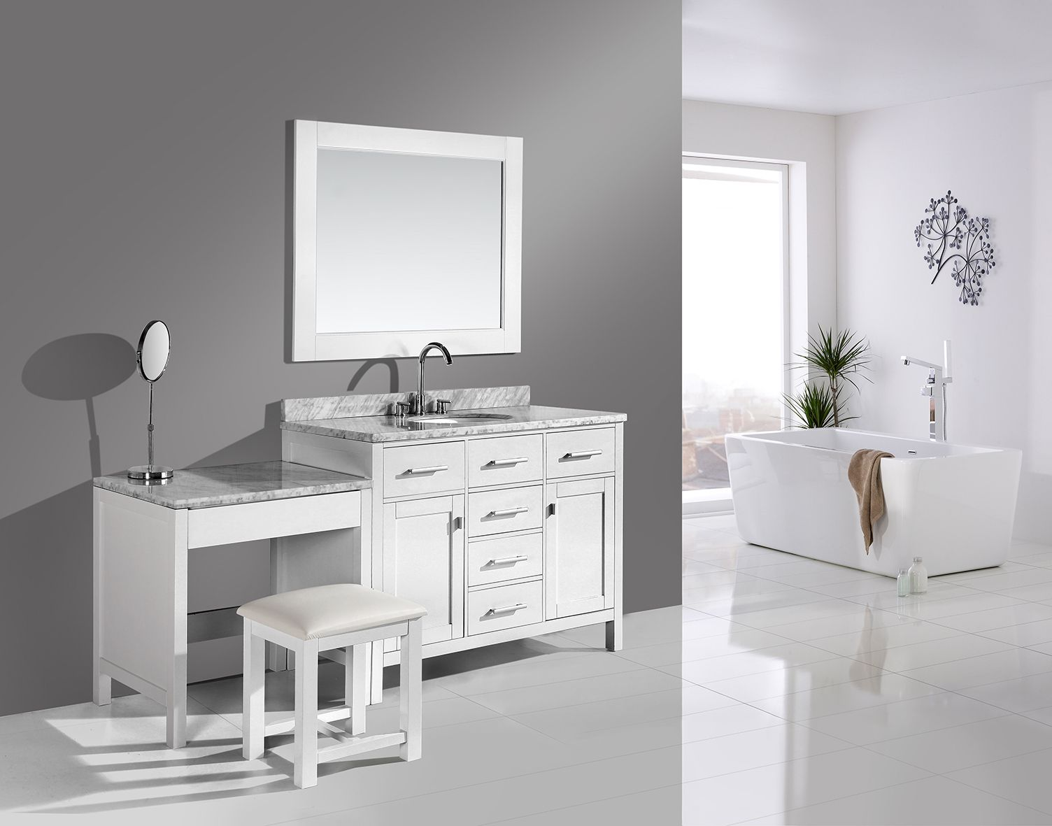 """London 42"""" Single Sink Vanity Set in White Finish with One"""