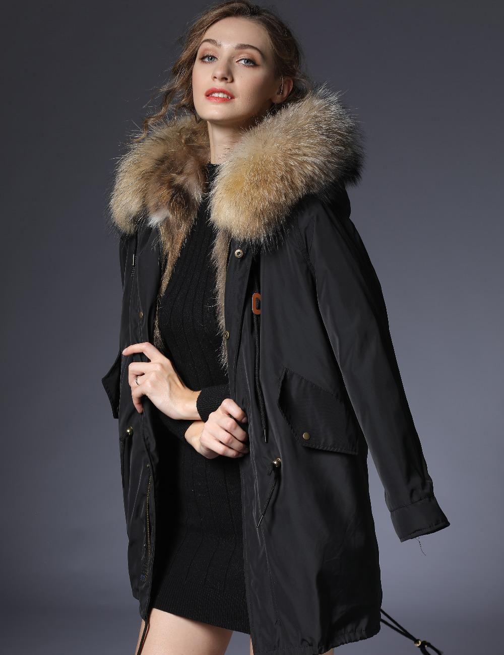 2018 parka woman winter jacket parkas women long real fur coat big raccoon  fur collar hooded parkas thick outerwear stree style.