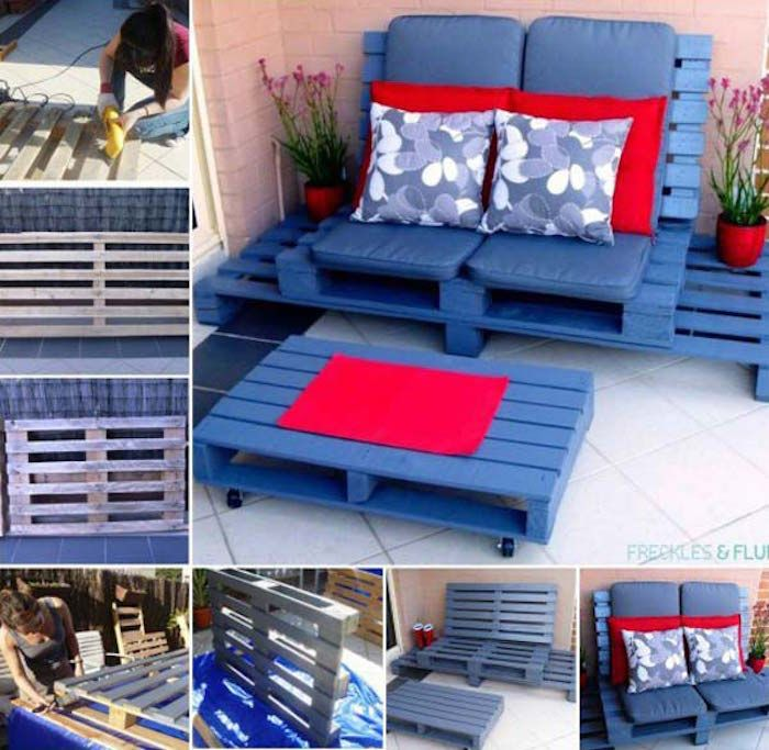 exemple Salon de jardin en palette design pas cher idée meubles en bois palettes fabriquer canapé extérieur construire table basse peinture bleu visser roulettes recup cagette