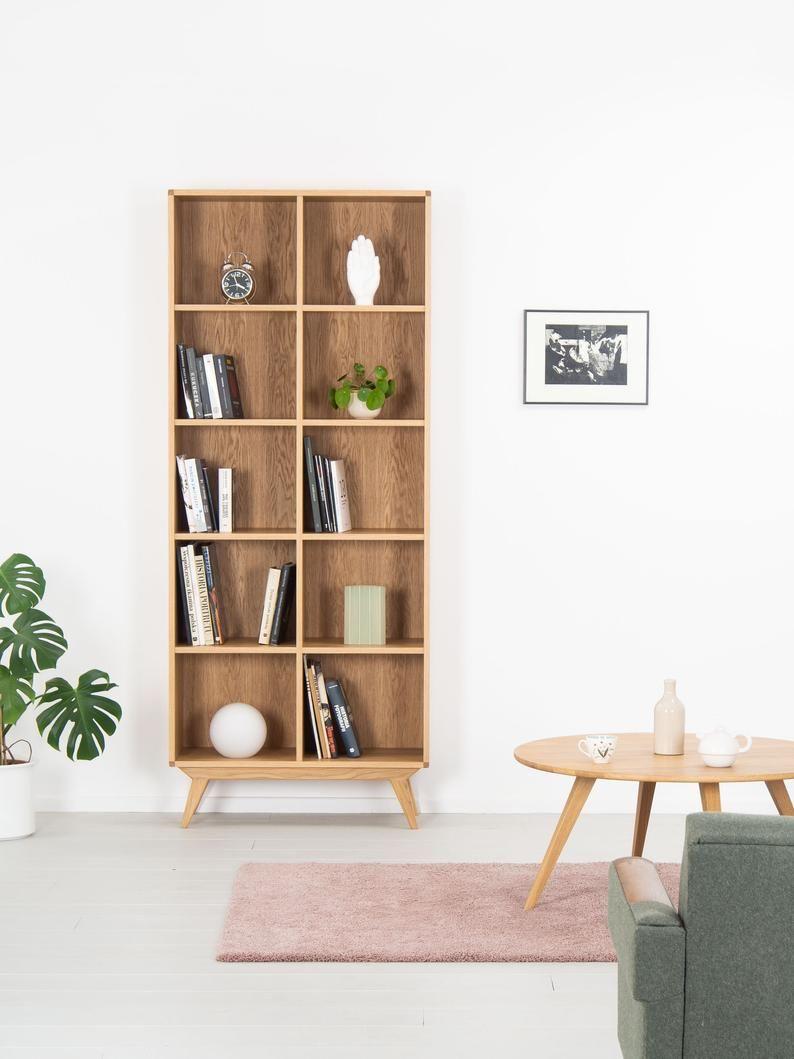 Bookcase Bookshelf Mid Century Modern Scandinavian Shelf Unit Made Of Oak Wood In 2020